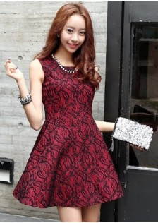 JNS3445 dress wine-red