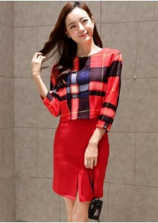 JNS893 top+skirt red