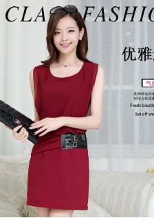 JNS8075 dress wine-red