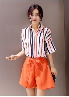 JNS9035 top+shorts orange*
