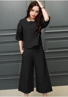 JNS625 top+pants black .