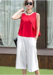 JNS957 top+pants red
