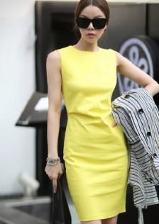 JNS989 office-dress yellow