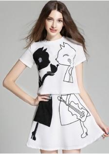 JNS6816 top+skirt white