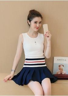 JNS6532 top+skirt white