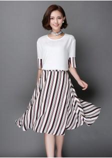 HYB6632 top+skirt white