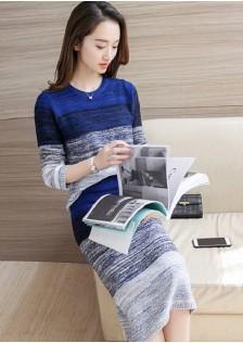 HYB2382 top+skirt blue -