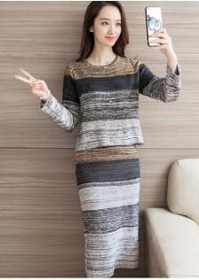 HYB2382 top+skirt khaki -