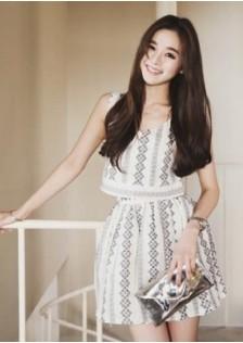 HYB1879 top+skirt white-