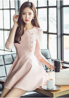 HYB1664 office-dress pink-